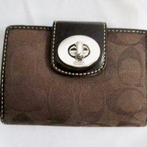 COACH Mini Signature C Canvas Leather Change Purse